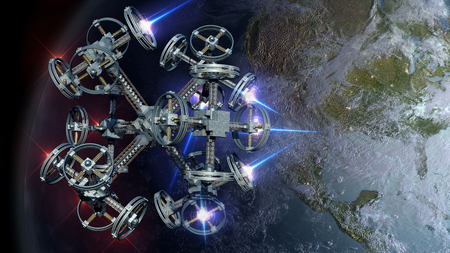 weapon: 3D Illustration of alien spaceship probing Earth for games, futuristic deep space travel or science   fiction backgrounds