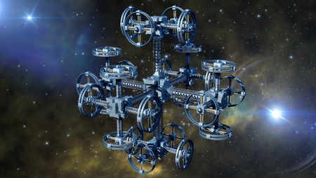travel backgrounds: 3d Illustration of an alien spaceship with multiple gravitational wheels in interstellar travel for games, futuristic deep space travel or science fiction backgrounds