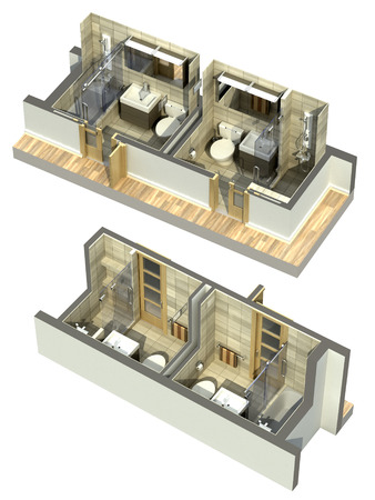 four corners: 3D Illustration of double bathrooms in an isometric view, shown to cover all four corners