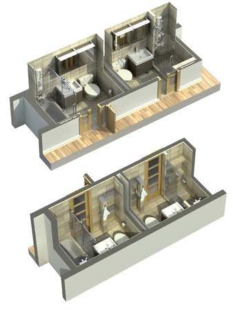 3D Illustration of double bathrooms in an isometric view, shown to cover all four corners