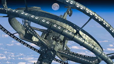 3d Illustration of a space station with multiple gravitational wheels in Earths high atmosphere for games, futuristic exploration or science fiction backgrounds.