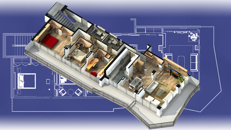 closets: 3D illustration of a furnished residential apartment, on a generic blueprint, showing the living room, dining room, foyer, bedrooms, bathrooms, closets, and balcony. Stock Photo