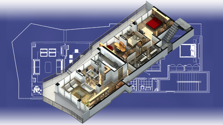 cross section: 3D illustration of a furnished residential apartment, on a generic blueprint, showing the living room, dining room, foyer, bedrooms, bathrooms, closets, and balcony. Stock Photo