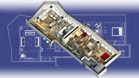 dollhouse: 3D illustration of a furnished residential apartment, on a generic blueprint, showing the living room, dining room, foyer, bedrooms, bathrooms, closets, and balcony. Stock Photo