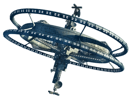 3d Illustration of a space station with multiple gravitational wheels for games, futuristic exploration or science fiction backgrounds, with the clipping path included in the file. Foto de archivo