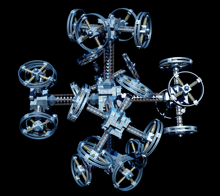 3d Illustration of an alien spaceship with multiple gravitational wheels for games, futuristic deep space travel or science fiction backgrounds, with the clipping path included in the file.