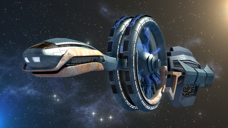 3d Illustration of a spacecraft with gravitational side wheels and energy fields in space travel for futuristic games or science fiction backgrounds.