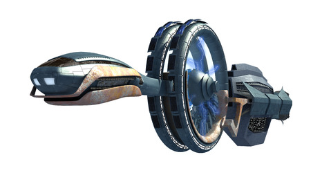 gravitational field: 3d Illustration of a spacecraft with gravitational energy field side wheels, for games, futuristic exploration or science fiction backgrounds, with the clipping path included in the file. Stock Photo