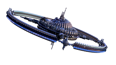 3D illustration of an alien spaceship or futuristic space station, with a central dome and gravitation wheel