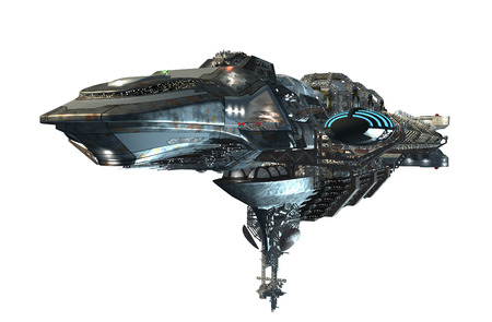 3d illustration of an intergalactic spacecraft for futuristic deep space travel or science fiction backgrounds, with the clipping path included in the file