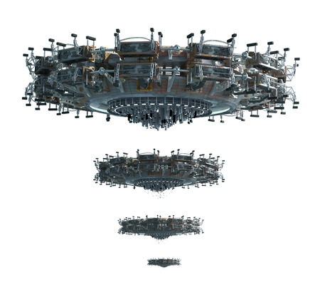 adjusted: 3D illustrations of a UFO in four images adjusted for perspective, for science fiction backgrounds or interstellar deep space travel with the clipping path included in the file