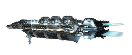 travel backgrounds: 3d illustration of an interstellar spaceship with fired propulsion jets for futuristic deep space travel or science fiction backgrounds, with the clipping path included in the file Stock Photo