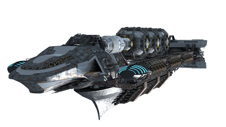 space travel: 3d illustration of an interstellar spaceship for futuristic deep space travel or science fiction backgrounds, with the clipping path included in the file