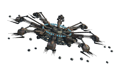 3D rendering of a spider-shaped UFO with drones, for futuristic, fantasy, interstellar travel or war game backgrounds