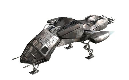 軍の無人機または空想科学小説の背景、ファンタジー戦争ゲーム、未来的な戦闘や宇宙旅行の宇宙船の 3D レンダリング