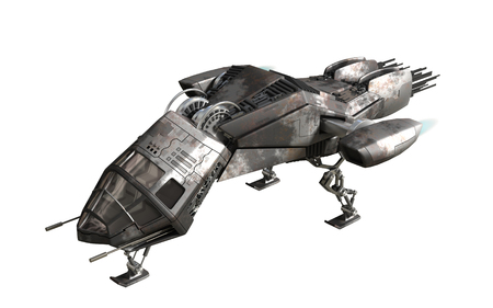 3D rendering of military drone or alien spacecraft for science fiction backgrounds, fantasy war games, futuristic battles or space travel