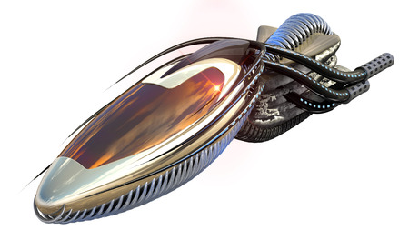 unidentified flying object: 3D Illustration of organic drone design or alien spacecraft for science fiction themes, fantasy war   games, futuristic military battles or space travel