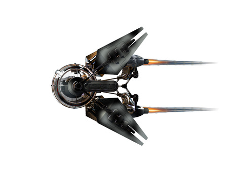 3D Illustration of a manned drone or spacecraft for science fiction themed war games or   futuristic space travel