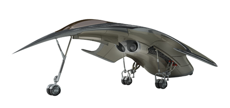 3D Rendering of a futuristic jet airplane, for science fiction or military aircraft themes Фото со стока