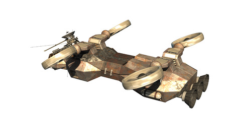 3D rendering of helicopter drone or alien spacecraft for science fiction backgrounds, fantasy war   games Stock Photo