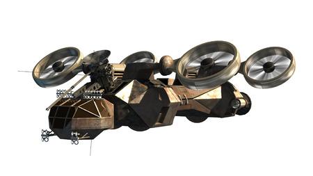 空想科学小説の背景、ファンタジー戦争ゲーム、未来的な軍の戦いまたは宇宙旅行ヘリコプター ドローンまたは外国人の宇宙船の 3D レンダリング 写真素材 - 65041658