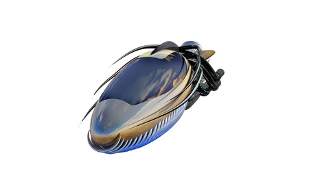 3D Illustration of organic drone design or alien spacecraft for science fiction themes, fantasy war   games, futuristic military battles or space travel