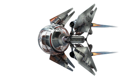 3D Illustration Of A Manned Drone Or Spacecraft For Science Fiction Themed War Games Futuristic