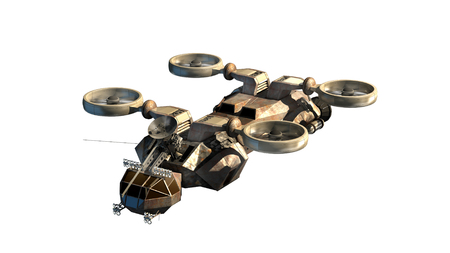 robot with shield: 3D rendering of helicopter drone or alien spacecraft for science fiction backgrounds, fantasy war   games, futuristic military battles or space travel, with the clipping path included in the file.