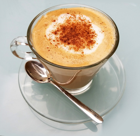 froth: Delicious cappuccino cup with cream froth and cinnamon Stock Photo