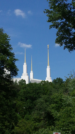 rock creek: A view from the Rock Creek park of the Washington D.C. Temple belonging to The Church of Jesus Christ of Latter-day Saints in Maryland, USA.