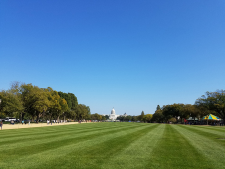 The National Mall lawn with the Western facade of the US Capitol Building in the background Stock Photo