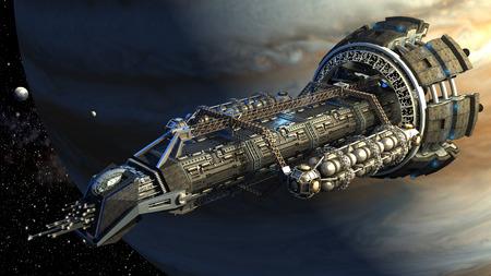 representación 3D de una nave espacial volando junto a Júpiter, para el viaje espacial profunda futurista, de investigación o de la ciencia ficción científica fondos.