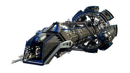 space station: 3d illustration of an interstellar spaceship for futuristic deep space travel or science fiction backgrounds, with the clipping path included in the file