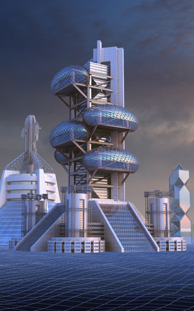sf: 3D Illustration of futuristic city architecture with ovoid glass structures, for fantasy or science fiction backgrounds
