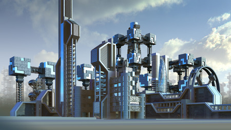 3D Illustration of a futuristic city skyline architecture with skyscrapers and modern glass structures, for fantasy or science fiction backgrounds