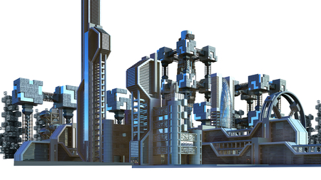 3D Illustration of a futuristic city architecture with skyscrapers and modern glass structures, for fantasy or science fiction backgrounds