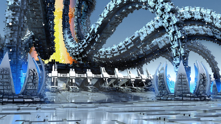 mimic: 3D Illustration of organic architecture with a futuristic structure with an energy core and extensions mimicking octopus tentacles and waterlilies, for fantasy or science fiction backgrounds.
