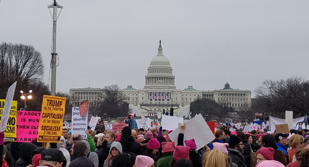 demonstrator: WASHINGTON, DC - JANUARY 21, 2017: Protesters hold up anti-Trump signs as thousands participate in the Womens March on Washington for social justice, the day after the Presidential Inauguration.