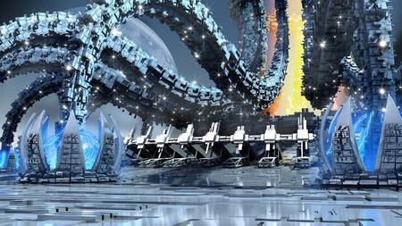 Illustration 3D de l'architecture organique avec une structure futuriste imitant des tentacules de pieuvre et des aquatiques, pour des fondations de fantaisie ou de science-fiction.