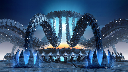 mimic: 3D Illustration of organic architecture with a futuristic structure for fantasy or science fiction. Stock Photo