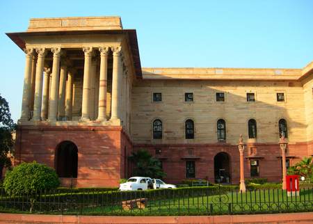 hinduismo: Indian Parliament buildings complex in New Delhi, India