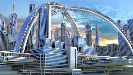 3D Illustration of a futuristic city with an arched structure, highrise buildings and terraces, for architectural backgrounds. Stock Photo