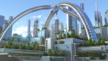 3D rendering of a futuristic green city with an arched structure and high rise buildings with terraces covered in vegetation, for environmental architecture backgrounds. Stock Photo