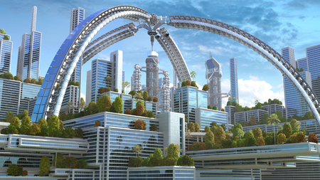 3D rendering of a futuristic green city with an arched structure and high rise buildings with terraces covered in vegetation, for environmental architecture backgrounds. Banco de Imagens