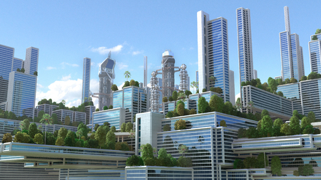3D rendering of a futuristic green city with high rise buildings and terraces covered in vegetation, for environmental architecture backgrounds.