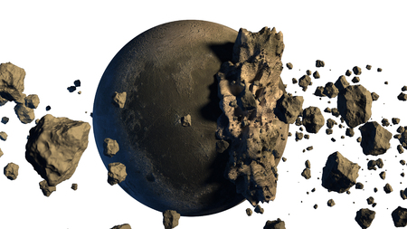 3D Rendering of asteroids next to a moon-like object