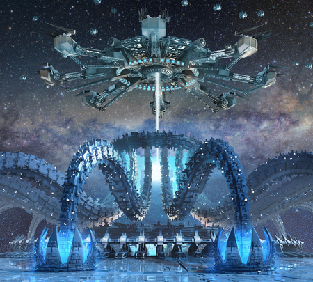 sci: 3D Rendering of organic alien architecture with a futuristic structure mimicking octopus   tentacles interacting with a hovering spider-like spaceship, for fantasy or science fiction   backgrounds.