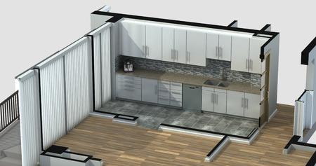 3D-weergave van een gemeubileerde woonkeuken, met generieke kasten en apparatuur.