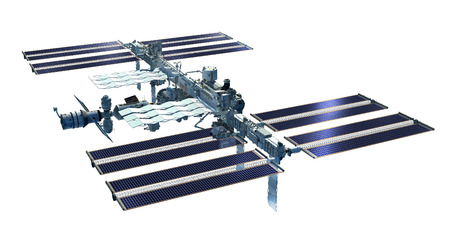 zero gravity: 3D Rendering of the International Space Station from its zenith side with solar panels and detailed modular architecture. Stock Photo