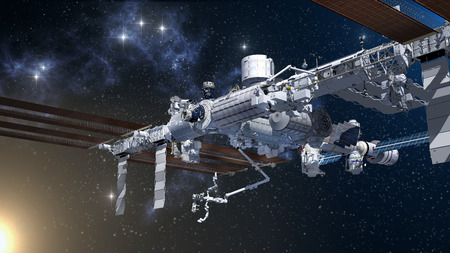 3D Rendering of the International Space Station against a generic space background.